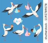 flying stork baby. bird... | Shutterstock .eps vector #1192789078