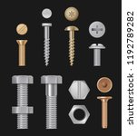 metallic bolts and screws.... | Shutterstock .eps vector #1192789282