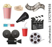 movie 3d icons. camera cinema... | Shutterstock .eps vector #1192789858