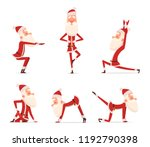 santa yoga poses. christmas... | Shutterstock .eps vector #1192790398