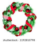 christmas wreath isolated | Shutterstock .eps vector #1192810798
