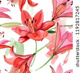 watercolor red lily flower....   Shutterstock . vector #1192817245