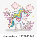 cute unicorn with clouds... | Shutterstock .eps vector #1192819165