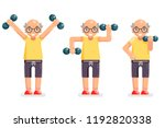 gymnastics old man grandfather... | Shutterstock .eps vector #1192820338