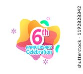 6 th logo anniversary and icon... | Shutterstock .eps vector #1192828342