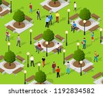 isometric people lifestyle... | Shutterstock .eps vector #1192834582
