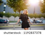 young smiling blonde woman in... | Shutterstock . vector #1192837378