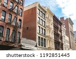 block of historic buildings on... | Shutterstock . vector #1192851445
