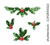 christmas holly elements.... | Shutterstock .eps vector #1192854322