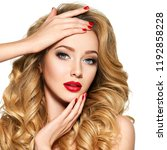 portrait of the blonde woman... | Shutterstock . vector #1192858228