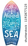 surfboard shape with hand drawn ... | Shutterstock . vector #1192877125