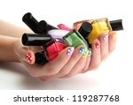 woman hands with nail polishes... | Shutterstock . vector #119287768