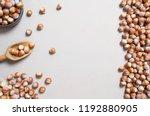 hazelnuts  filbert in burlap... | Shutterstock . vector #1192880905