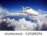 private jet plane in the blue...   Shutterstock . vector #119288296