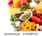 pasta spaghetti  vegetables and ... | Shutterstock . vector #119288722