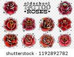 set of four oldschool tattoo... | Shutterstock .eps vector #1192892782