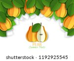 ripe fresh yellow pear fruit... | Shutterstock .eps vector #1192925545