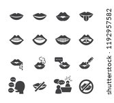 mouth icon set flat icon set... | Shutterstock .eps vector #1192957582