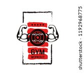 no pain no gain. gym workoun... | Shutterstock .eps vector #1192968775