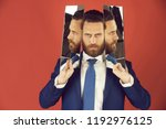 man or bearded serious... | Shutterstock . vector #1192976125
