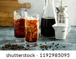 refreshing cold brew iced... | Shutterstock . vector #1192985095