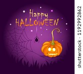 postcard on halloween day with... | Shutterstock .eps vector #1192992862