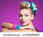 fashion portrait of a beautiful ... | Shutterstock . vector #1193000902