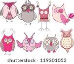 Stock vector owls drawing set pink 119301052