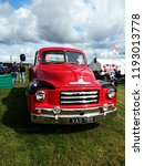 vintage red bedford truck show... | Shutterstock . vector #1193013778