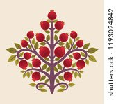 pomegranate tree. vector... | Shutterstock .eps vector #1193024842