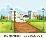 city view from the park... | Shutterstock .eps vector #1193037025