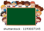 children next to the chalkboard ... | Shutterstock .eps vector #1193037145