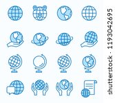 Globe Flat Line Icons. Set Of...