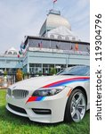 MONTREAL, CA - JUNE 09: A White BMW Canbec at a Car Exhibit on June 09, 2010 in Montreal, Canada. BMW exhibit at the famous Terraces Bonsecours in Montreal, Canada. - stock photo