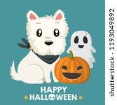 vector halloween icon dog west... | Shutterstock .eps vector #1193049892
