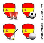 spain shield. sports items | Shutterstock . vector #1193053795