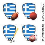 greece shield. sports items | Shutterstock . vector #1193053822