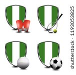 nigeria shield. sports items | Shutterstock . vector #1193053825