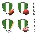 nigeria shield. sports items | Shutterstock . vector #1193053828