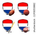 netherlands shield. sports items | Shutterstock . vector #1193053882