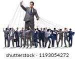 boss employee manipulating his... | Shutterstock . vector #1193054272