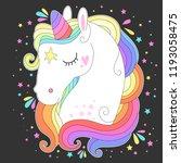 unicorn head with rainbow hair. ...   Shutterstock .eps vector #1193058475