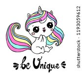 unicorn cute character with... | Shutterstock .eps vector #1193059612