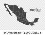 mexico map vector  isolated on... | Shutterstock .eps vector #1193060635