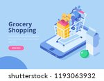 online grocery shopping concept.... | Shutterstock .eps vector #1193063932