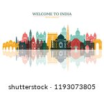 colorful detailed india skyline.... | Shutterstock .eps vector #1193073805