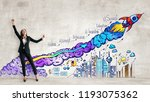 cheerful young woman standing... | Shutterstock . vector #1193075362