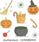set with cartoon halloween... | Shutterstock .eps vector #1193080945