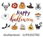 halloween design hand drawn set ... | Shutterstock .eps vector #1193102782