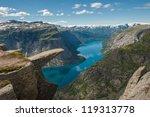 trolltunga  troll's tongue rock ... | Shutterstock . vector #119313778